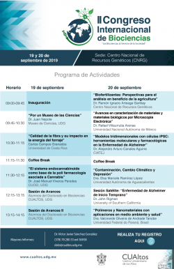 II Congreso Internacional en Biociencias