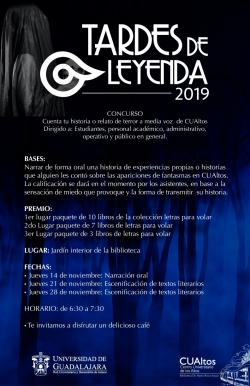 Concurso. Tardes de Leyenda. Mayores Informes Biblioteca CUAltos.