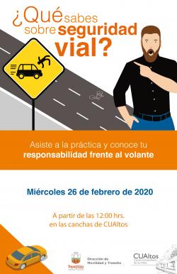 CUAltos te invita a participar en las prácticas de seguridad vial. 26 de febrero en las canchas deportivas