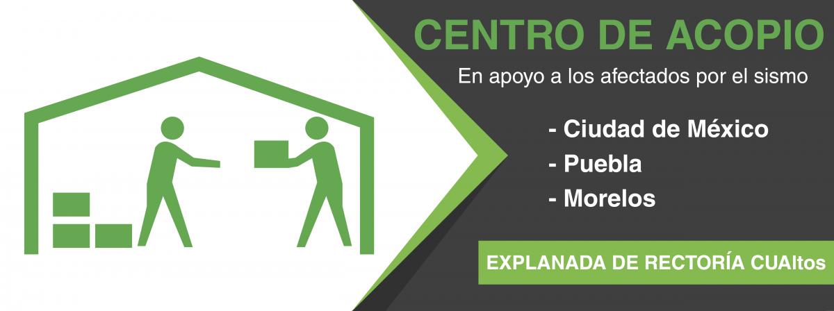 centro de acopio, explanada de rectoría CUALTOS