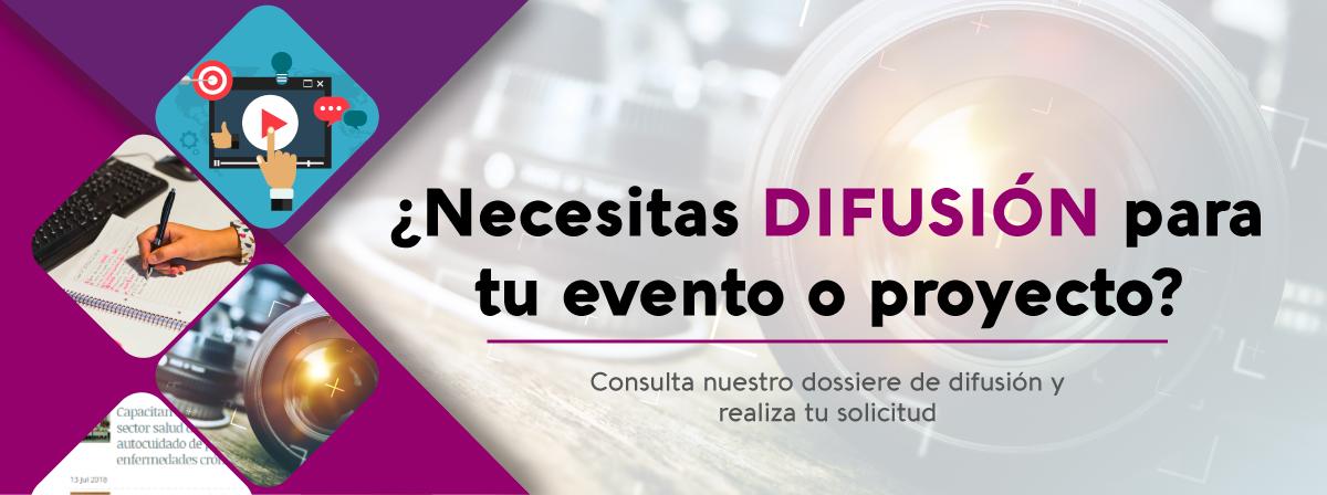 Banner publicitario para solicitud de servicios de difusión en eventos y de proyecos